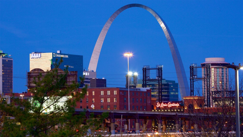 St. Louis showing a city, night scenes and modern architecture