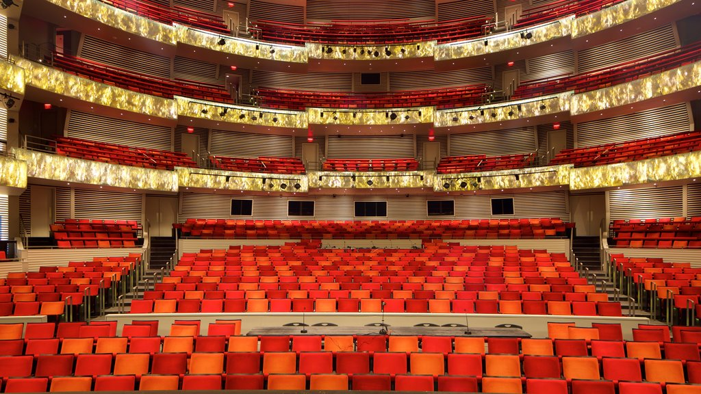 Kauffman Center for the Performing Arts showing interior views and theater scenes