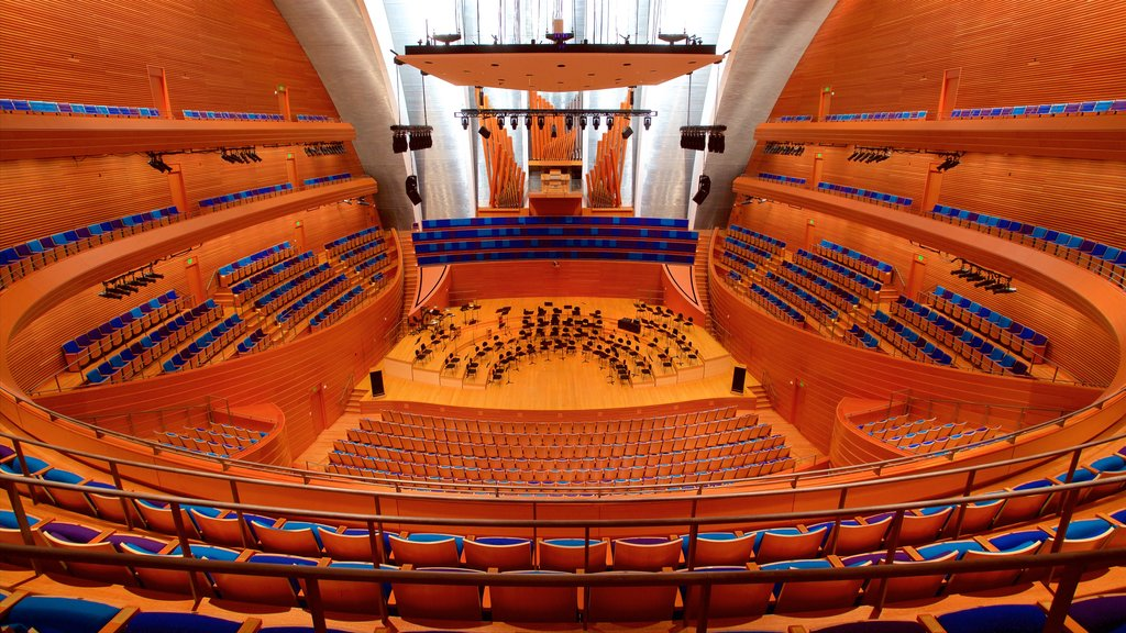 Kauffman Center for the Performing Arts which includes interior views, theater scenes and modern architecture