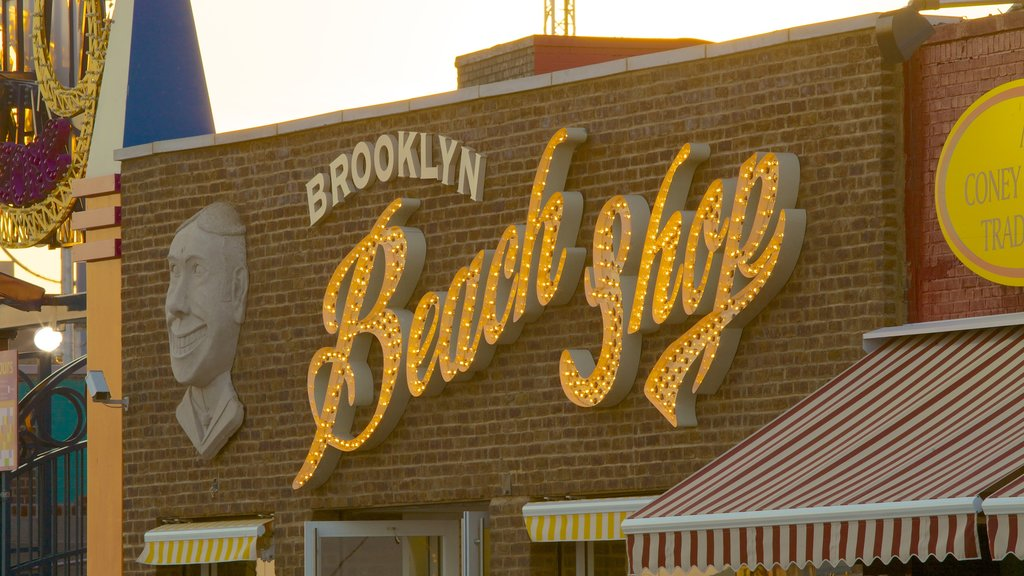 Coney Island featuring shopping and signage