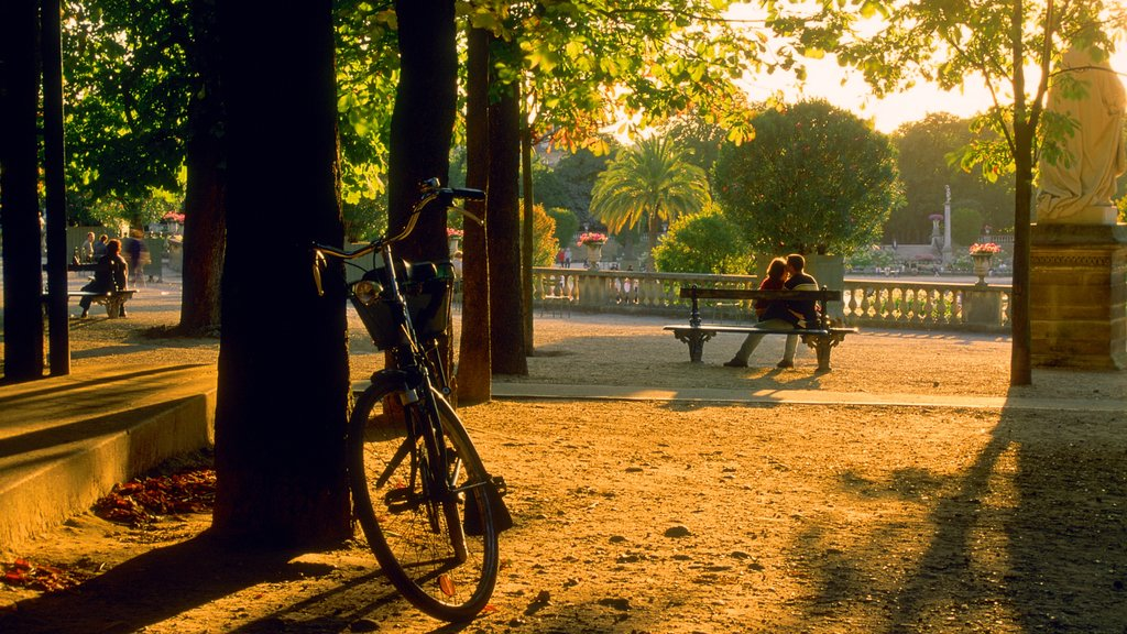 Luxembourg Gardens featuring a sunset and a garden as well as a couple
