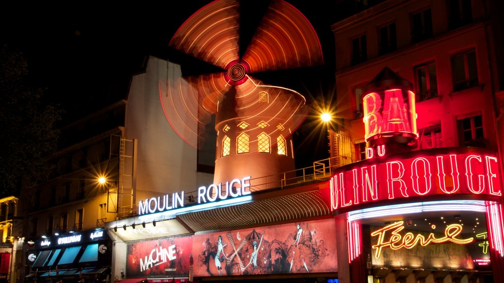 Paris which includes a windmill, street scenes and night scenes