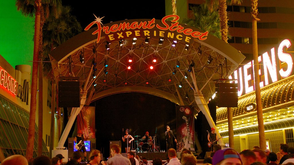 Fremont Street Experience showing street scenes, signage and night scenes