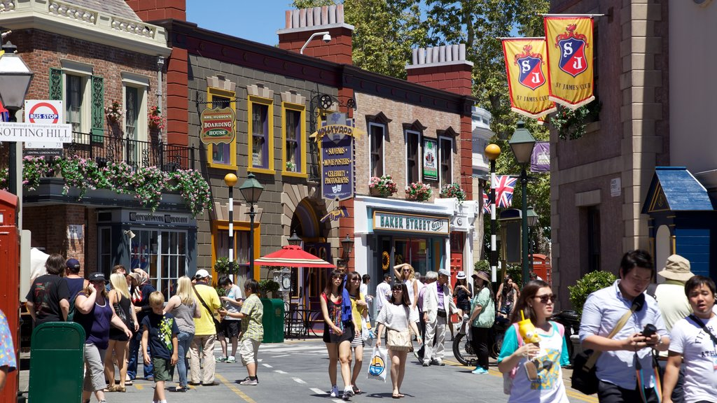 Universal Studios which includes street scenes and a city as well as a large group of people