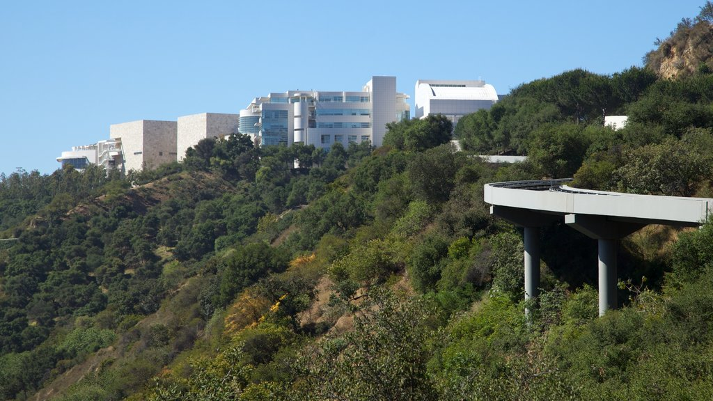 Getty Center featuring modern architecture, a city and a bridge
