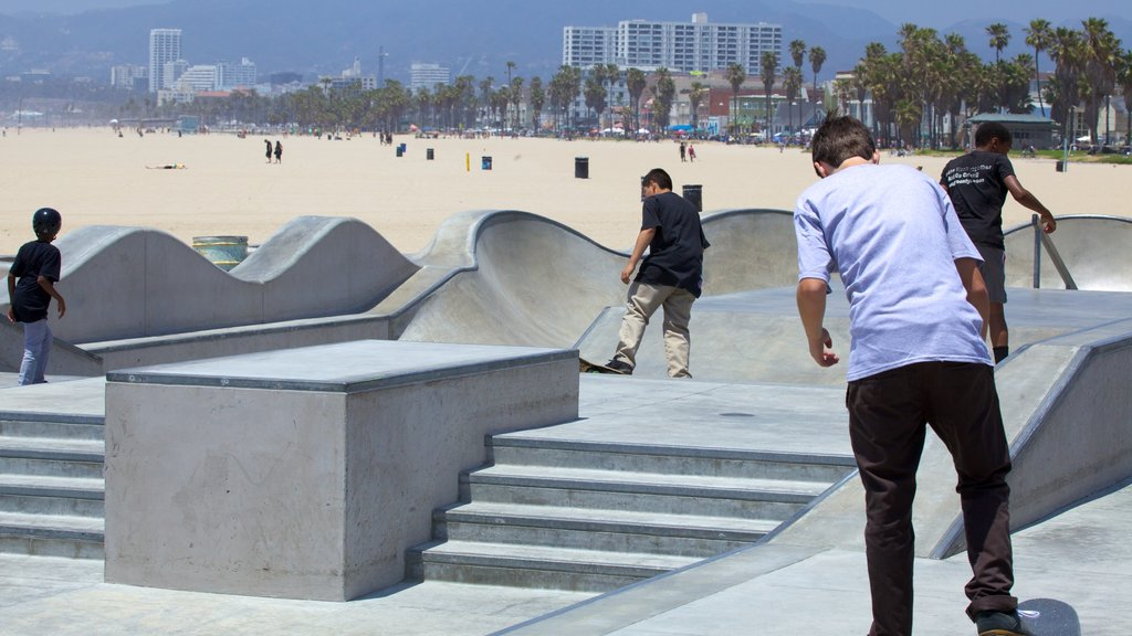 Venice Beach which includes tropical scenes and a beach as well as a small group of people