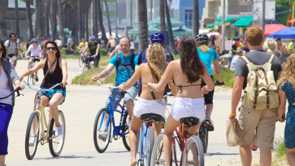 Venice Beach featuring cycling and street scenes as well as a large group of people