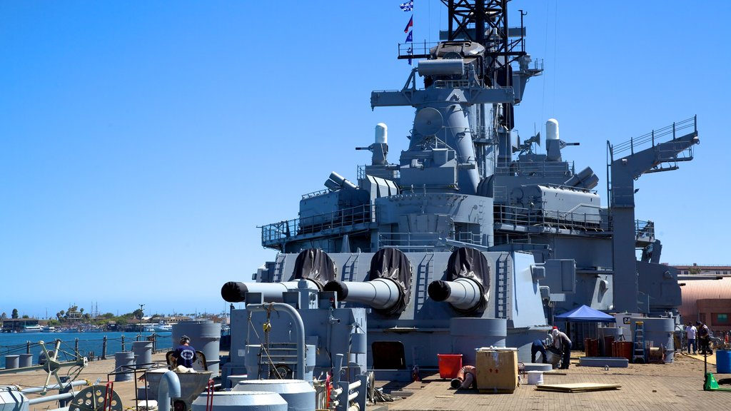 USS Iowa which includes military items and a bay or harbor