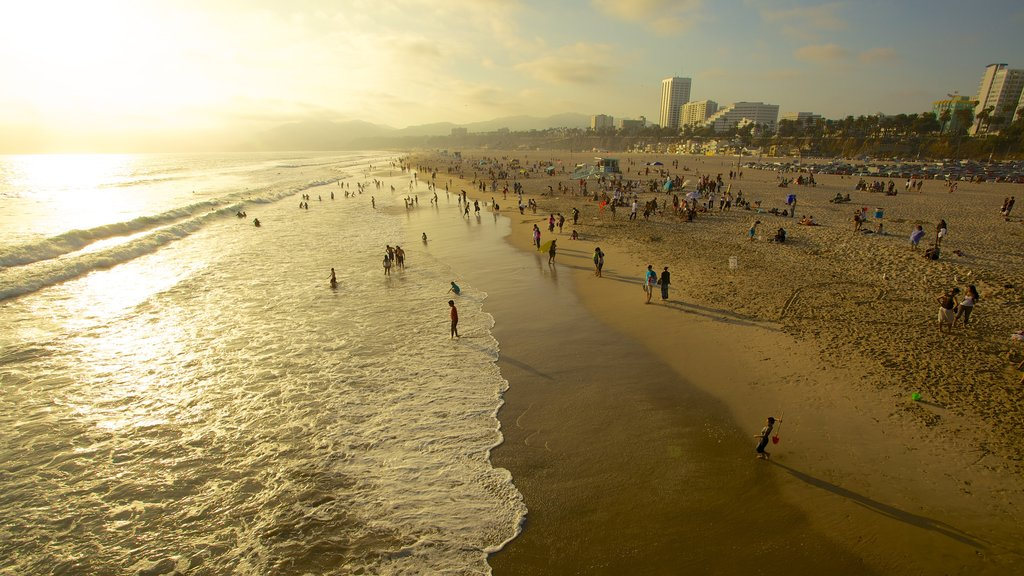 Los Angeles featuring a sunset and a sandy beach as well as a large group of people