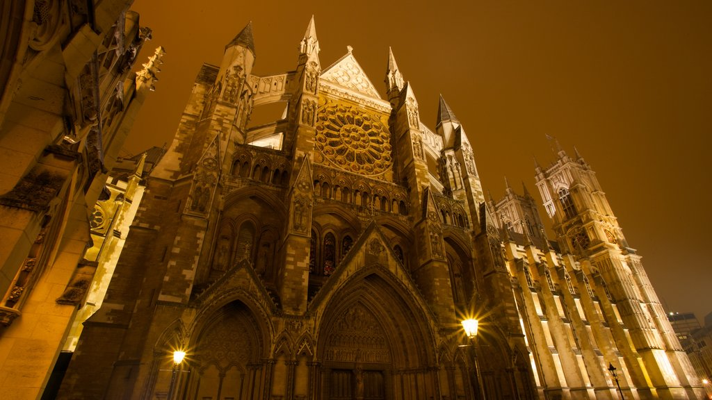 Westminster Abbey featuring night scenes, religious elements and a church or cathedral