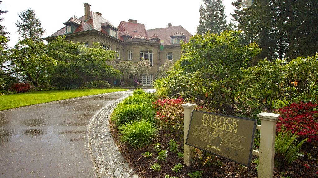 Pittock Mansion which includes street scenes, heritage architecture and flowers