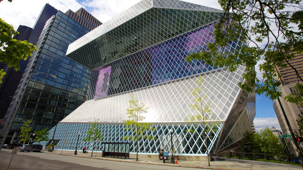 Seattle Public Library which includes modern architecture and a city