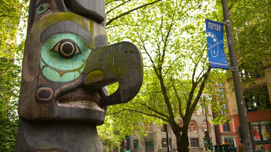 Pioneer Square which includes art, a square or plaza and a city