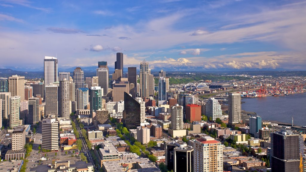 Space Needle showing cbd, a city and general coastal views