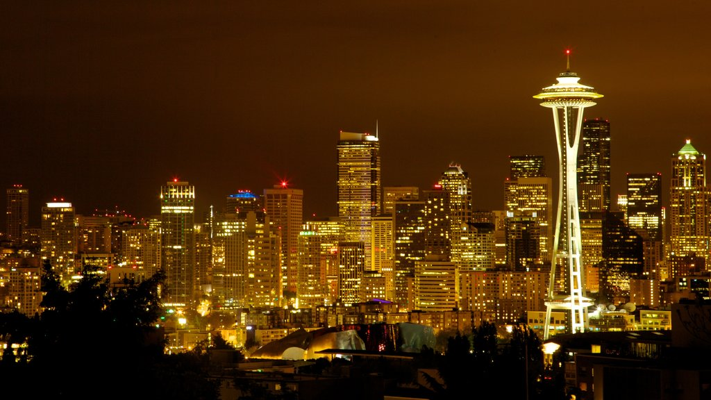 Kerry Park featuring night scenes, a city and skyline