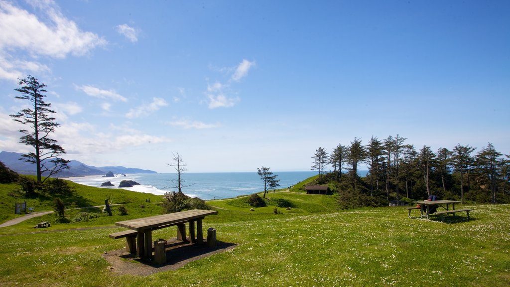 Cannon Beach which includes landscape views and general coastal views
