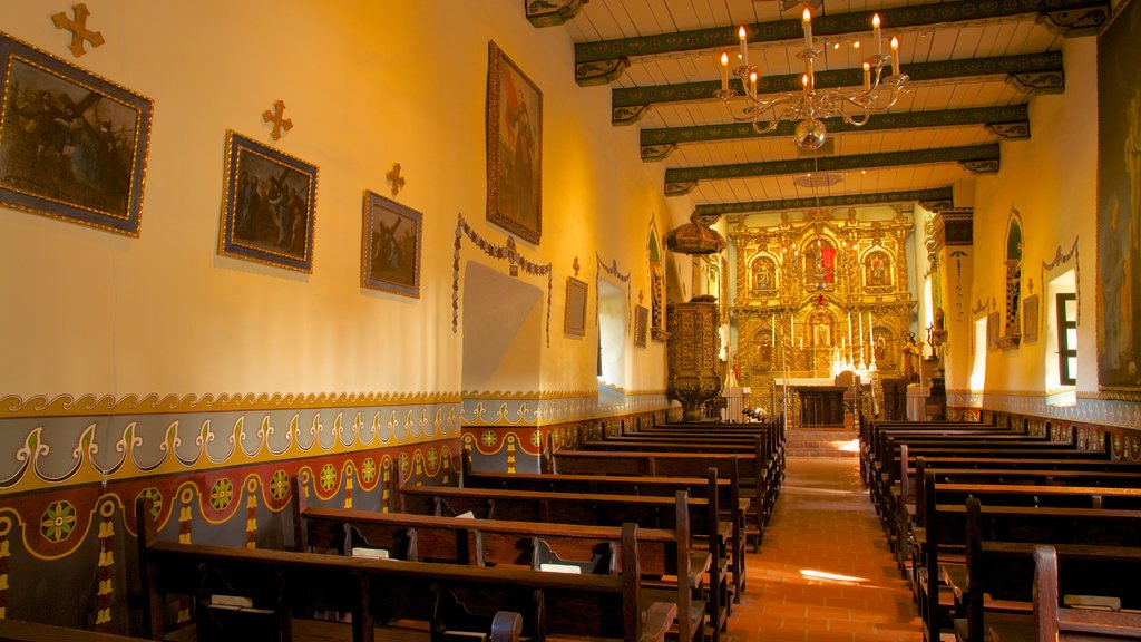Mission San Juan Capistrano which includes interior views, a church or cathedral and religious aspects