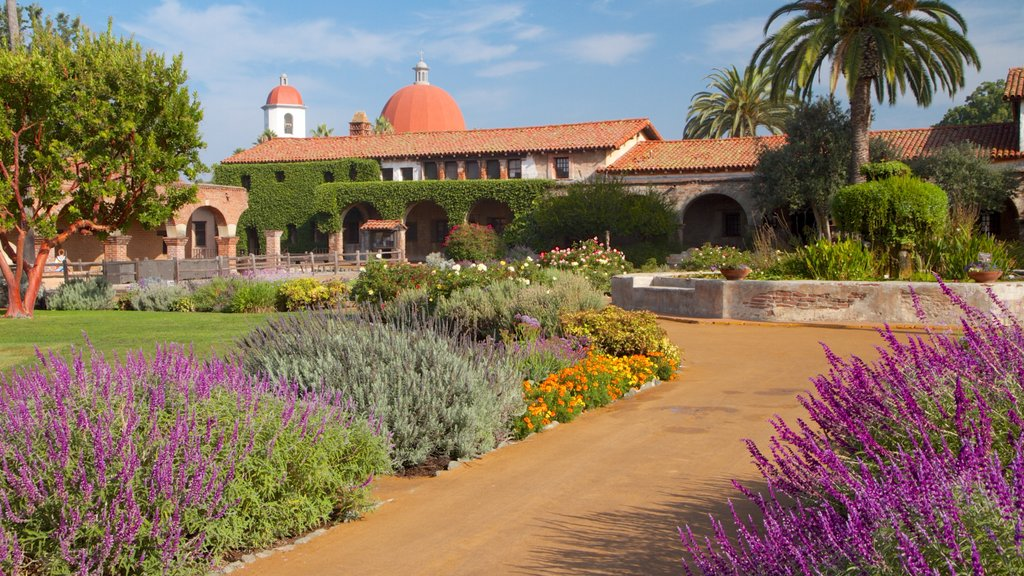 Mission San Juan Capistrano showing landscape views, flowers and religious aspects