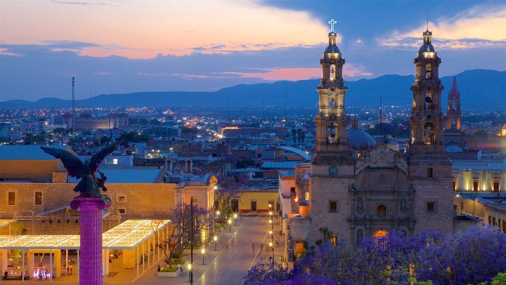 Aguascalientes featuring a sunset, a city and landscape views