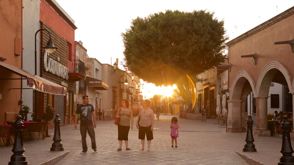 Plaza Miguel Hidalgo showing a sunset as well as a family