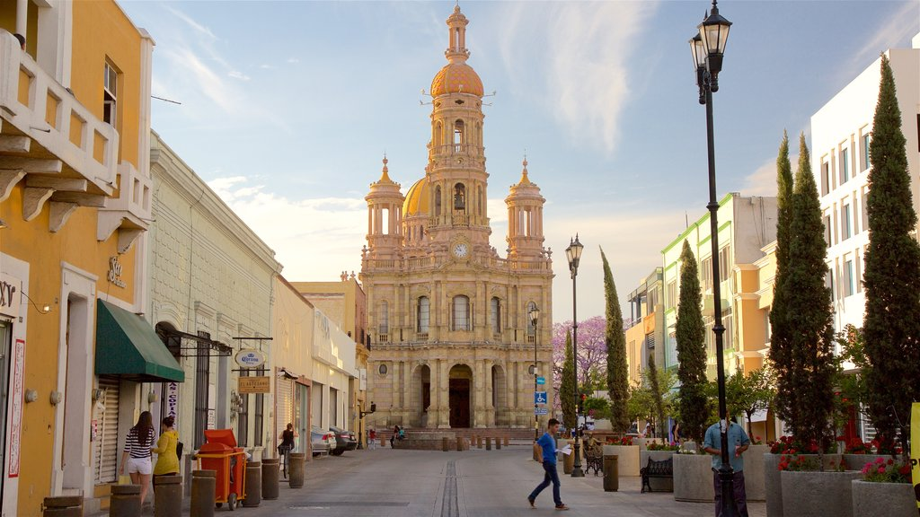 Zona Centro featuring street scenes, a sunset and heritage architecture