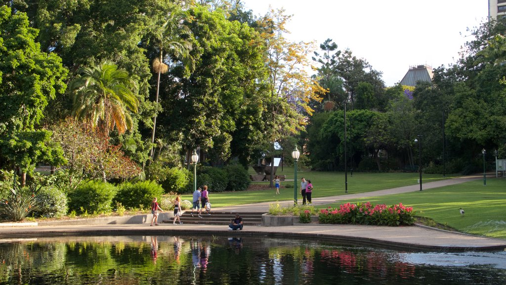 Brisbane which includes flowers, a lake or waterhole and a park