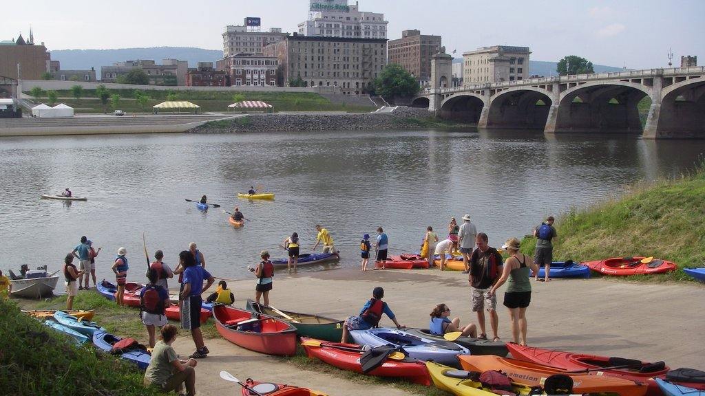 Scranton featuring a bridge, kayaking or canoeing and a river or creek