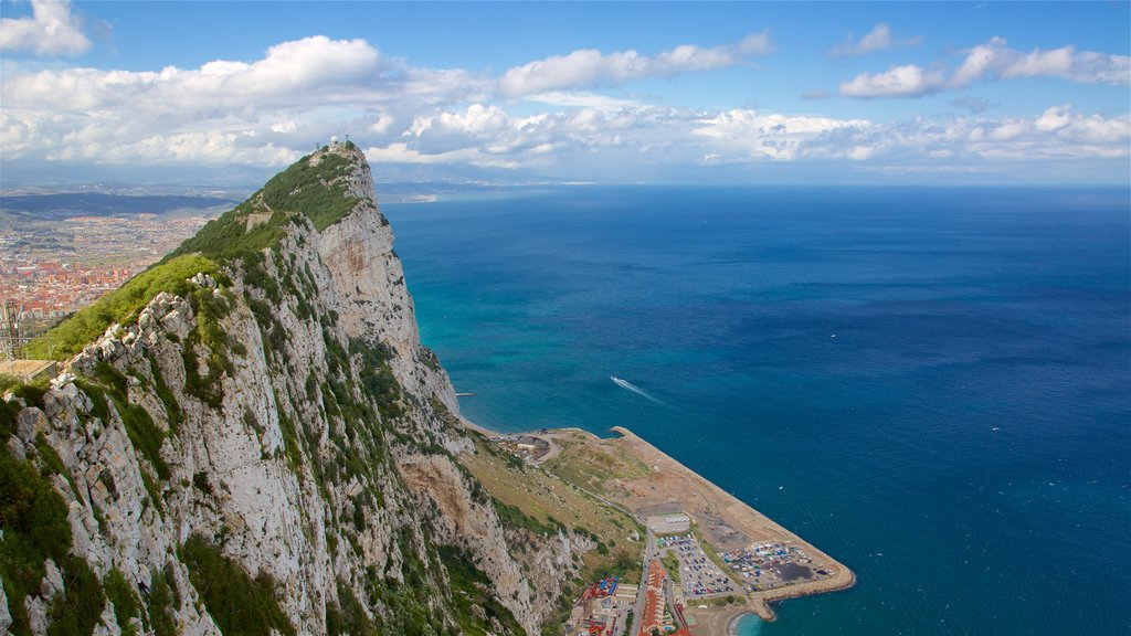 Rock of Gibraltar featuring mountains and general coastal views