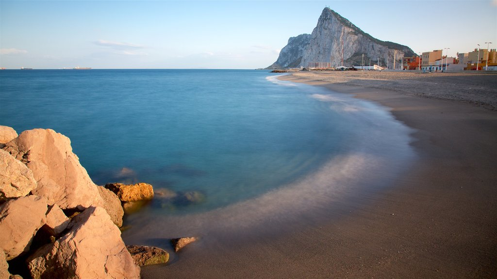 Rock of Gibraltar featuring a beach, general coastal views and mountains