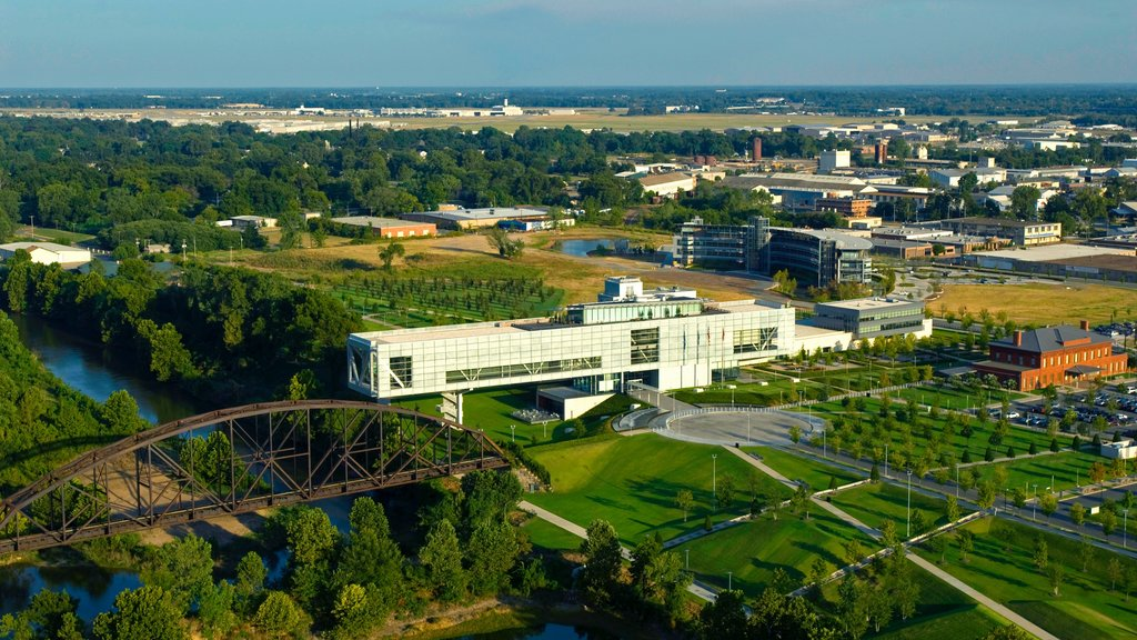 William J. Clinton Presidential Library featuring a bridge and landscape views