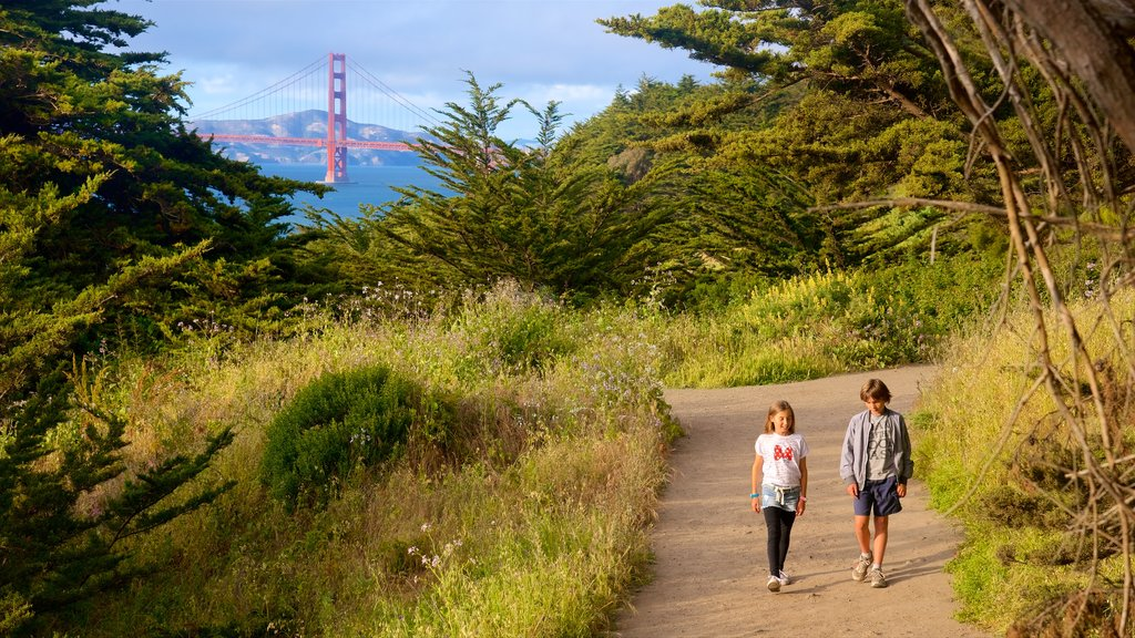 Land\'s End Trail which includes a garden and hiking or walking as well as children