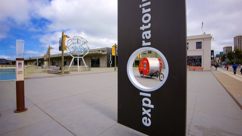 Exploratorium which includes signage