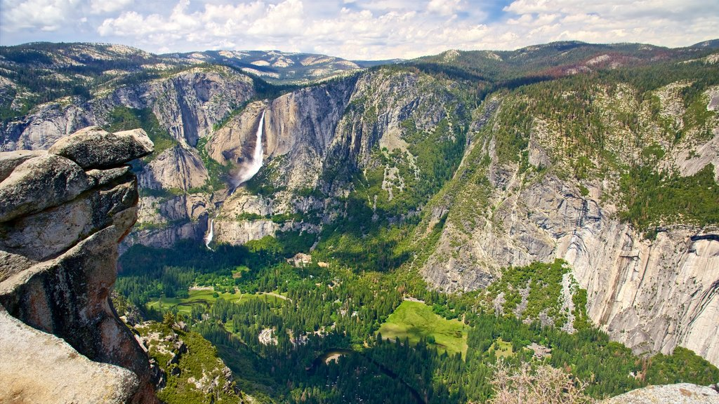Glacier Point showing forest scenes, a gorge or canyon and landscape views