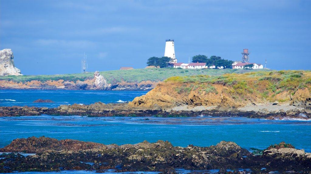 Piedras Blancas Lighthouse which includes rocky coastline