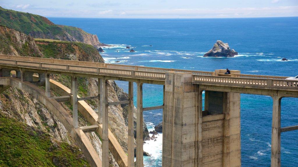 Big Sur que incluye vistas generales de la costa, un puente y costa rocosa