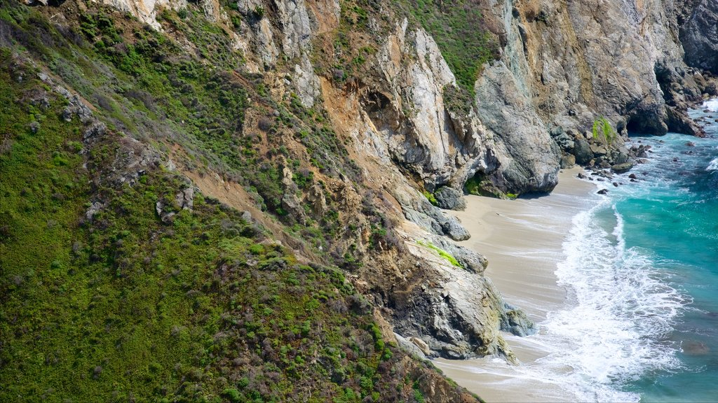 Bixby Bridge which includes rugged coastline and a sandy beach