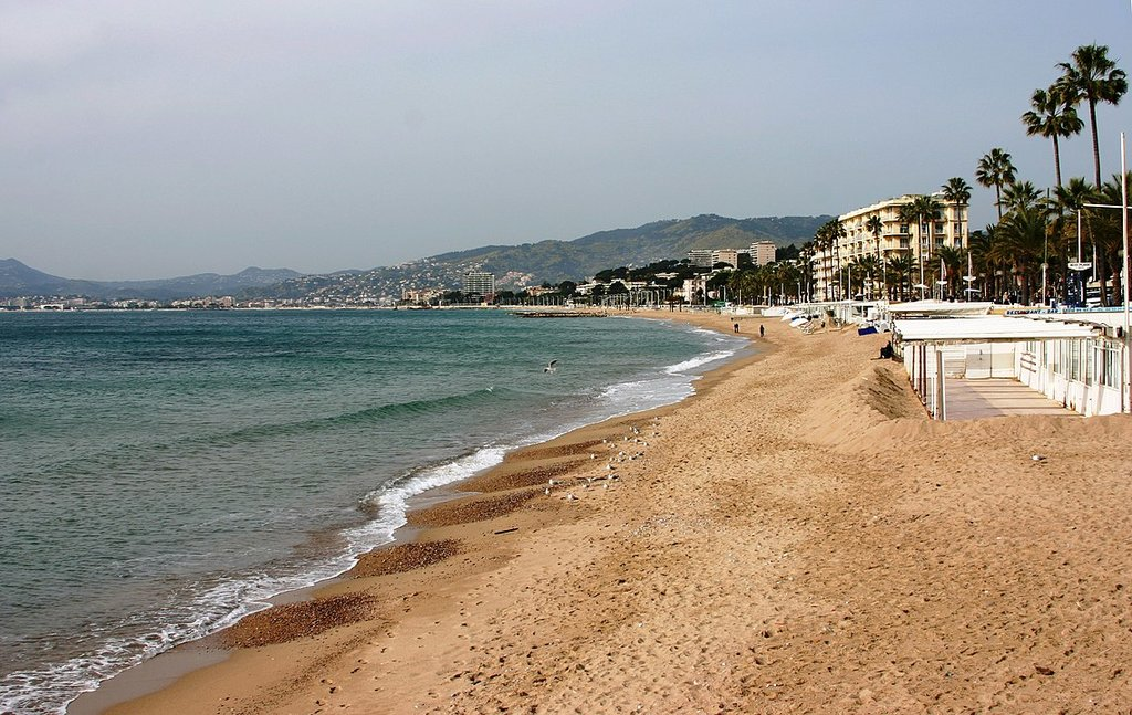 Beach in Cannes By © José Luiz Bernardes Ribeiro, CC BY-SA 3.0, https://commons.wikimedia.org/w/index.php?curid=31683448