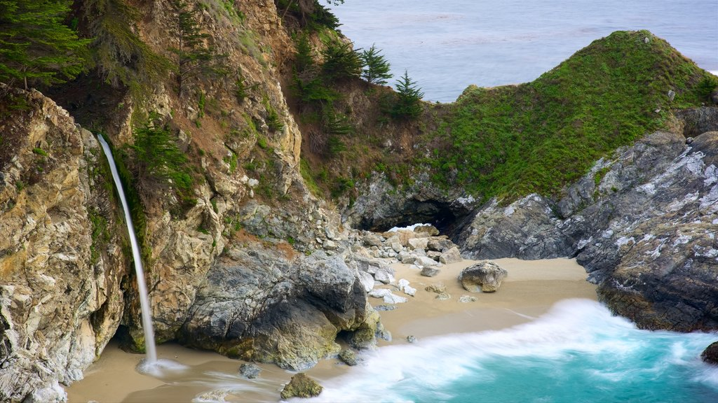 Big Sur showing a sandy beach, general coastal views and rocky coastline