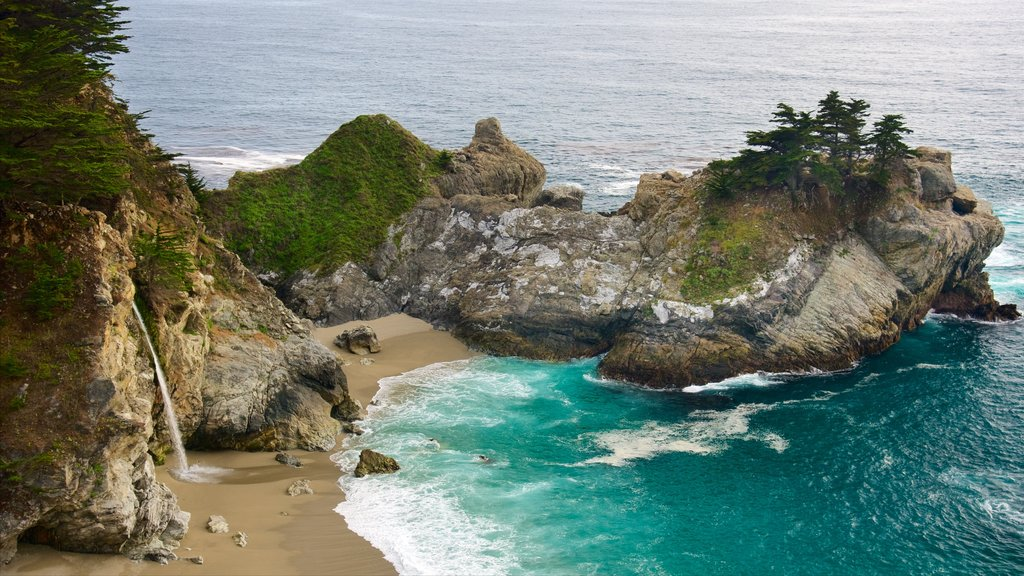 McWay Falls which includes general coastal views, a sandy beach and rugged coastline