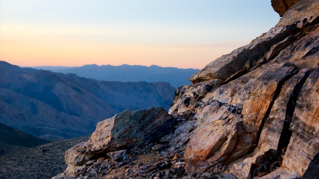 Death Valley National Park featuring desert views, a sunset and landscape views