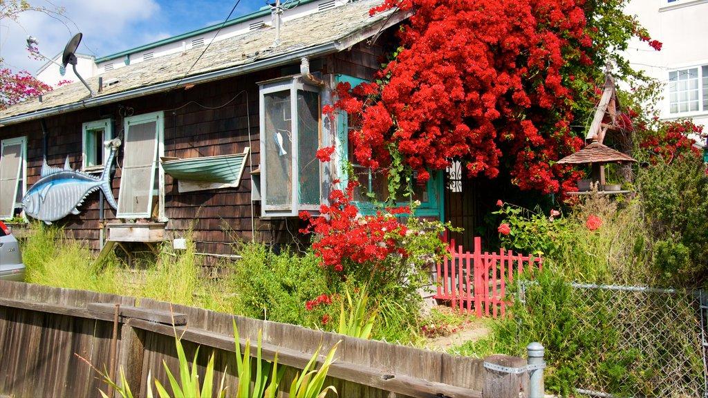 Cannery Row que incluye una casa y flores