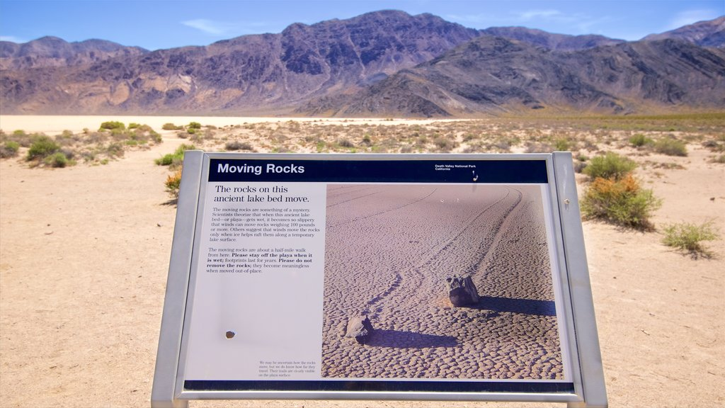Death Valley showing desert views, signage and tranquil scenes