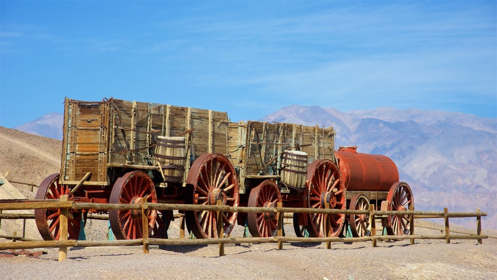 Death Valley which includes railway items, heritage elements and tranquil scenes