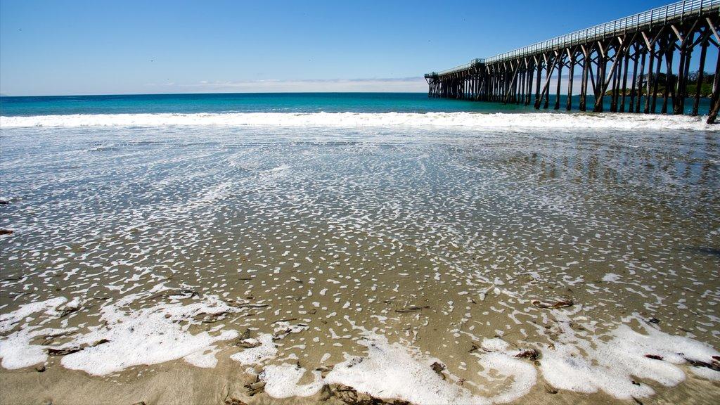 San Simeon Pier showing a sandy beach