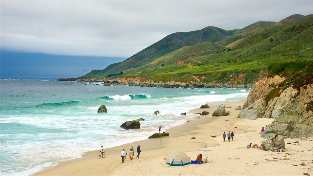 Garrapata Beach which includes landscape views, a beach and mountains