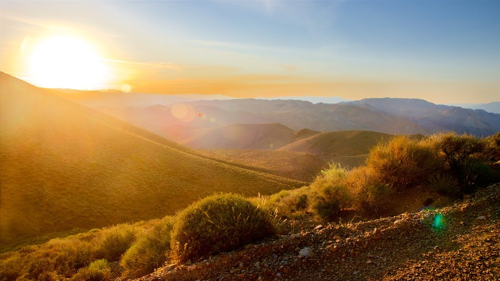 Death Valley which includes a sunset, landscape views and tranquil scenes