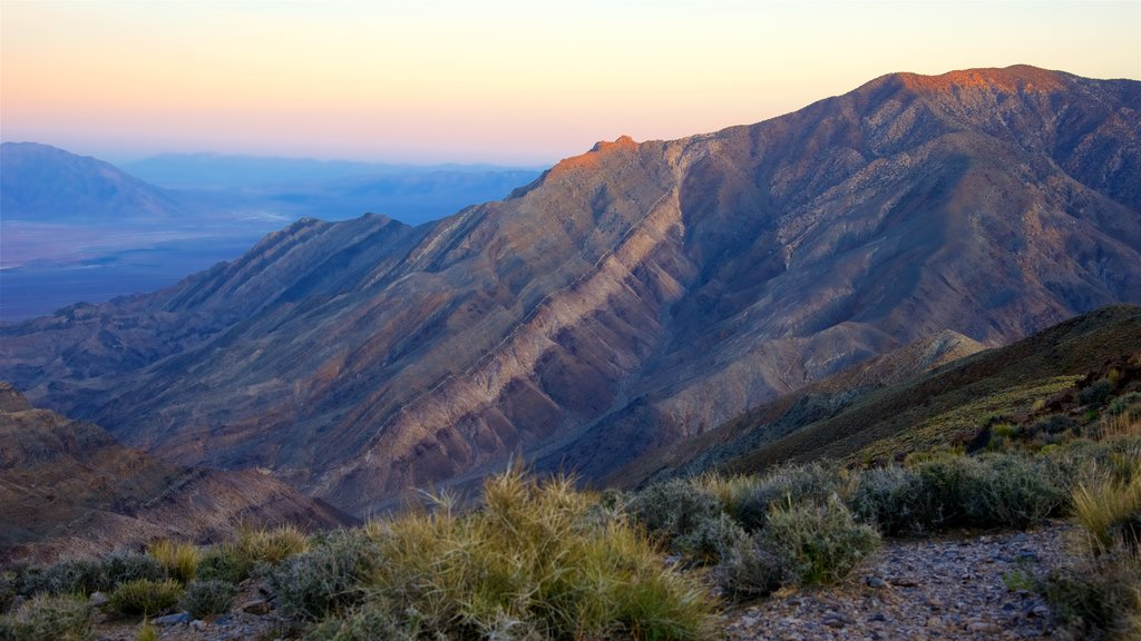 Death Valley featuring a sunset, landscape views and tranquil scenes