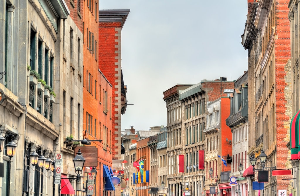 Street view of buildings in Old Montreal, Canada