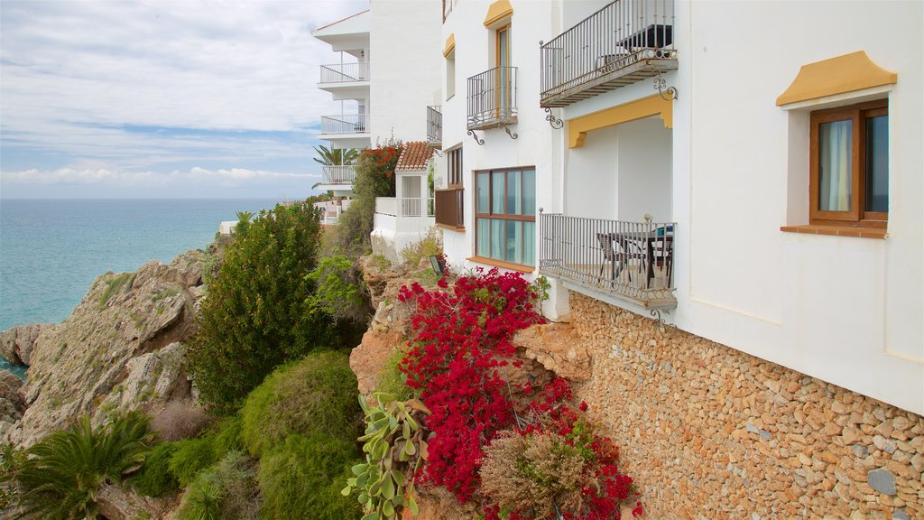 Nerja which includes a coastal town, general coastal views and a house