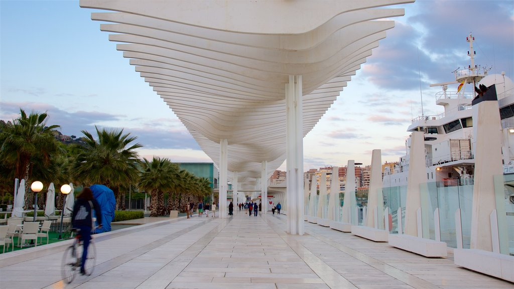 Port of Malaga featuring modern architecture, a marina and cycling